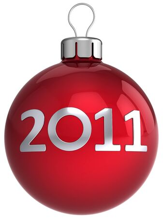 New Year red shiny ball with 2011 silver text on it. Modern Merry Christmas bauble.This is a detailed 3d render photo