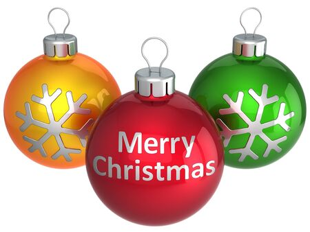 Christmas baubles colorful (orange, red, green) with silver text Merry Christmas on middle ball. Be happy! This is a detailed 3d render photo