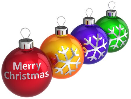 Modern Christmas baubles (red, orange, blue, green) with silver snowflake and text Merry Xmas on them. 3d render. Isolated on white photo