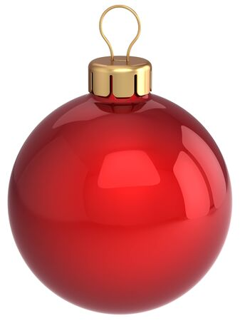 Classic Christmas ball total red and glossy. Beautiful Happy New Year bauble. This is a detailed 3D render. Isolated on white Stock Photo - 8381244
