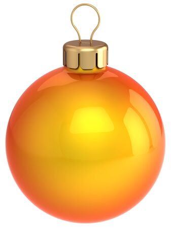 lightweight ornaments: Christmas ball orange and glossy. Beautiful Happy New Year decoration. This is a detailed 3D render. Isolated on white