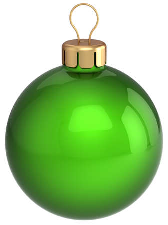 lightweight ornaments: Christmas ball green and glossy. Beautiful Happy New Year decoration. This is a detailed 3D render. Isolated on white