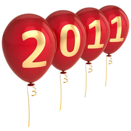 New Year 2011 Balloons in red and gold isolated on white photo
