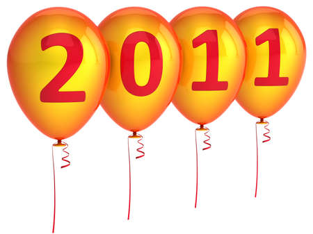New 2011 Year Balloons in red and orange isolated on white background photo
