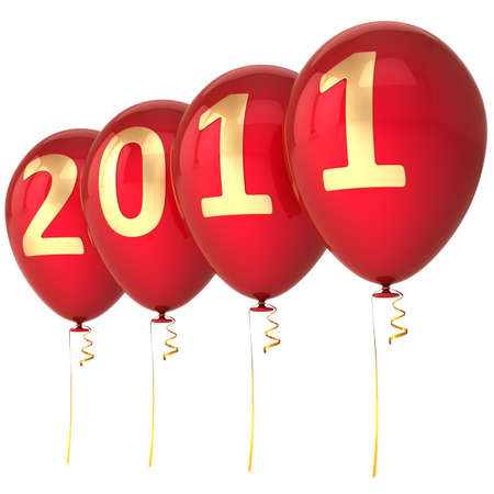 2011 New Year Balloons in red and gold isolated on white background photo