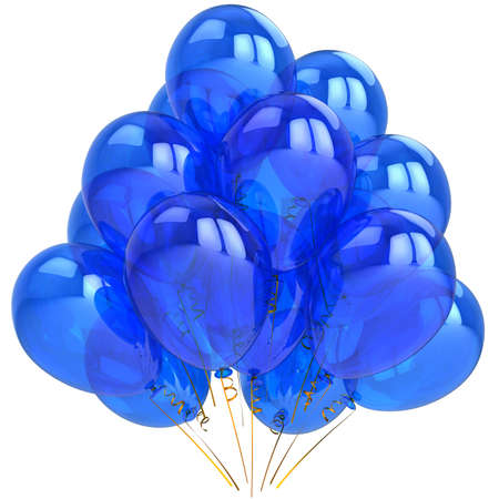 Blue helium balloons. Cyan party concept. Joyful emotions. This is a detailed 3D render. Isolated on white photo