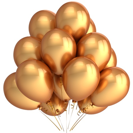 Golden helium balloons. Luxury party concept. This is a detailed 3D render (Hi-Res). Isolated on white Stock Photo