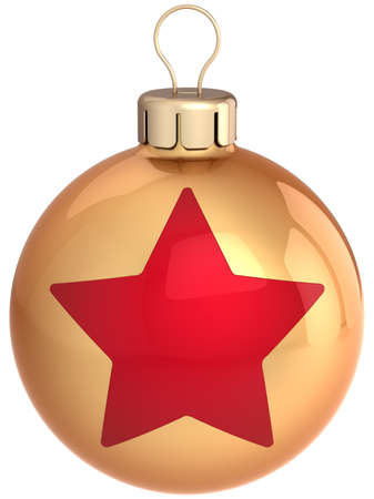 Christmas ball golden with red star shape on it. Modern Happy New Year bauble. This is a detailed 3D render (Hi-Res). Isolated on white photo