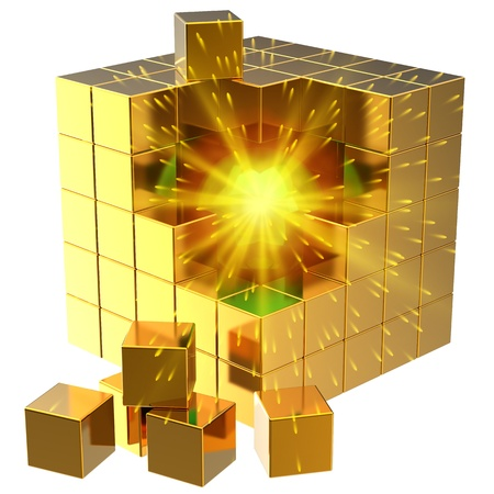 Data search. I have found it! Burning sphere inside golden abstract cube assembling from blocks. 3D render photo