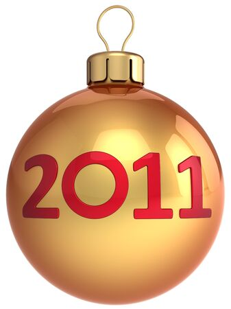 New Year shiny golden ball with 2011 red text on it. Beautiful Merry Christmas bauble.This is a detailed 3d render photo