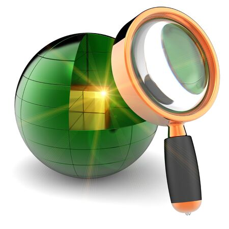 Data search. I have found information! Golden shiny cube with bright yellow flare flash inside abstract green data sphere under orange magnifying glass. Internet concept Stock Photo - 8374791