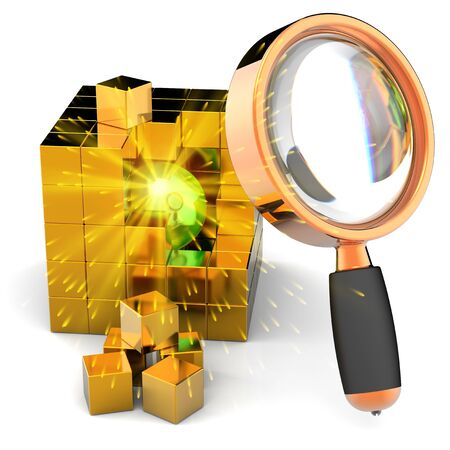 Searching information. I have found it! Burning shiny sphere with sparks inside abstract golden data cube under orange magnifying glass photo