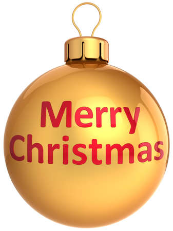 Golden Christmas ball bauble. Merry Xmas and Happy New Year! Greeting card template. This is a detailed 3d render photo