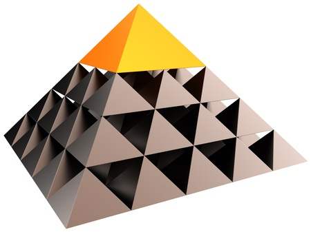 Abstract leadership hierarchy pyramid. Business career concept. Volume triangle structure with orange cap. 3D render