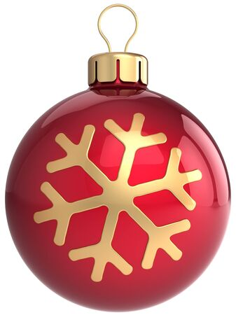 Red Christmas ball bauble decorated with golden snowflake shape. Modern New Year decoration. This is a detailed 3D render Stock Photo - 8375124