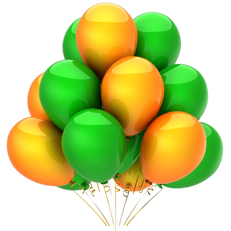 Party balloons colored green and orange. Modern anniversary decoration. This is a detailed 3D render photo