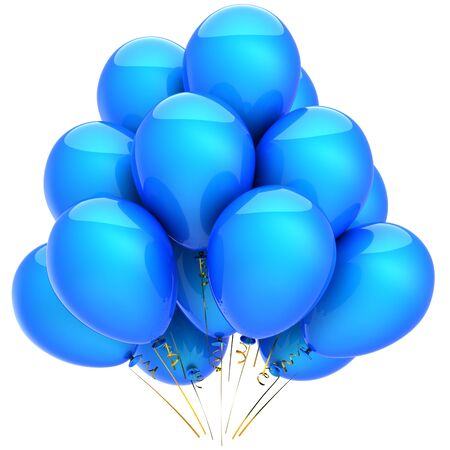Party helium balloons colored blue with cyan. Positive emotions. This is a detailed 3D render photo