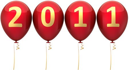 New Year balloons total red decorated with golden 2011 date. This is a detailed 3d render photo