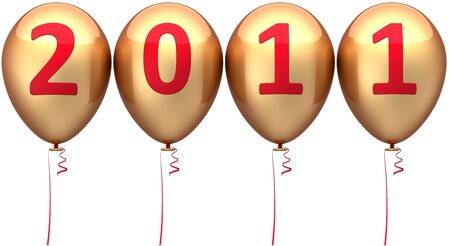 New Year balloons golden decorated with red 2011 date. This is a detailed 3d render photo