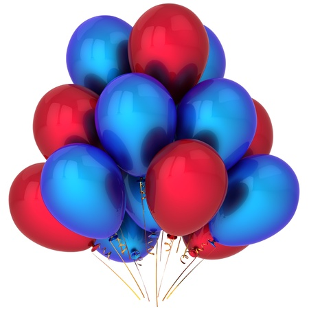 Helium balloons red and blue. Modern party decoration. This is a detailed 3D render