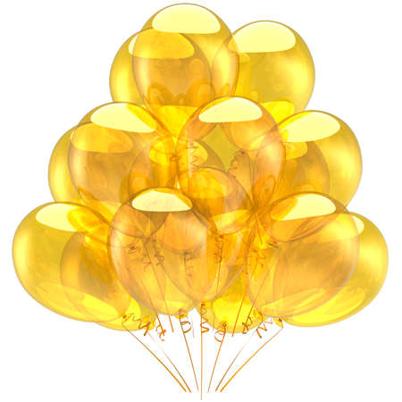 Yellow helium balloons transparent and glossy. Holiday luxury decoration concept. 3D render Stock Photo - 8375103