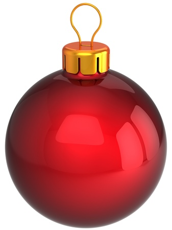 Red Christmas bauble ball classic. Modern Happy New Year decoration. This is a detailed 3D render