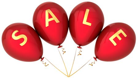Red balloons decorated with golden word Sale. Retail decoration. This is a detailed 3D render photo