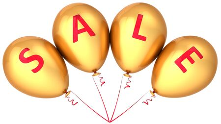 Golden balloons decorated with red word Sale written on them. Retail decoration. 3D render photo