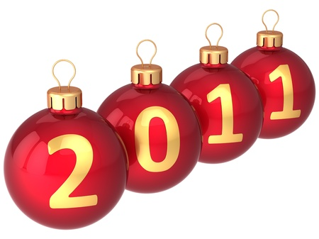 Red Christmas balls with golden 2011 date written on them. Modern Xmas decoration bauble. 3d render photo