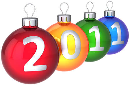 Christmas balls multicolored with silver 2011 date written on them. Modern New Year eve decoration bauble. 3d render photo