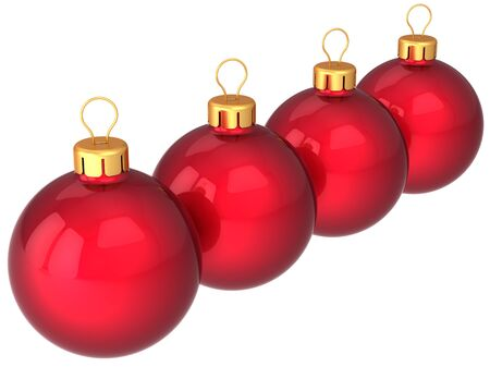 Red Christmas baubles in a row. Four modern shiny Xmas decoration balls. This is a detailed 3d render Stock Photo - 8375104