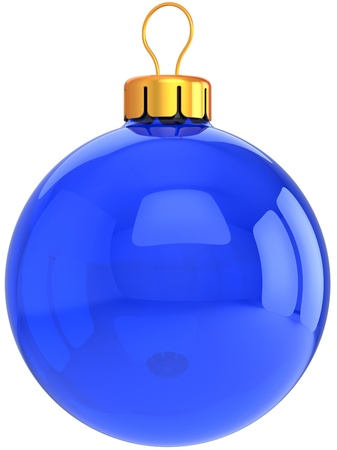 Blue Christmas bauble ball classic. Modern Happy New Year decoration. This is a detailed 3D render photo