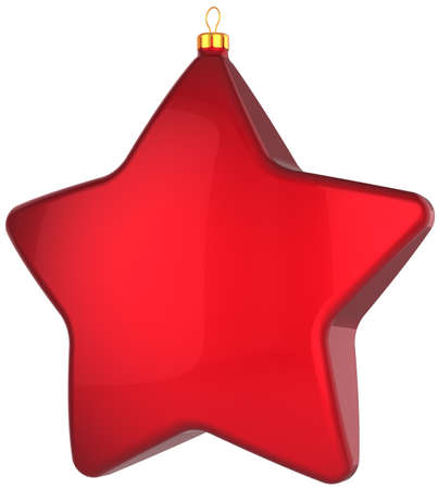 hanging toy: Red Christmas star shape bauble. Modern shiny Xmas and New Year decoration. This is a detailed 3D render