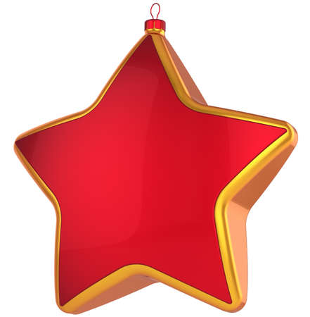Red Christmas star shape bauble with golden border. Modern shiny Xmas New Year decoration. This is a detailed 3D render Stock Photo - 8374815