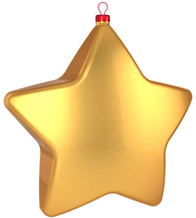 Golden Christmas star shape bauble. Modern shiny Xmas and New Year decoration. This is a detailed 3D render Stock Photo - 8375092