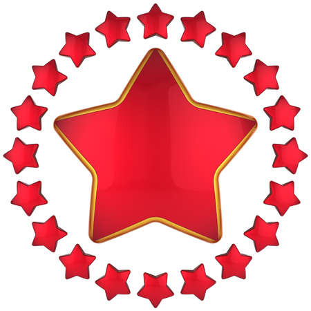 Red star shape bauble with many little stars arranged as circle border around. 3D render photo