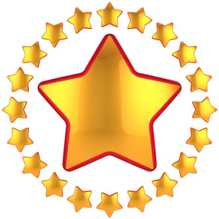 five stars: Golden star shape bauble with many little stars arranged as circle border around. This is a detailed 3D render