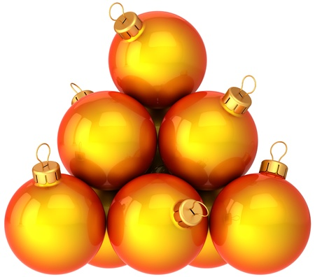 Orange Christmas balls arranged as a pyramid. Modern shiny New Year decoration baubles. This is a detailed 3d render photo