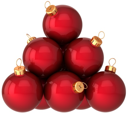 Red Christmas balls arranged as a pyramid. Modern shiny New Year decoration baubles. This is a detailed 3d render photo