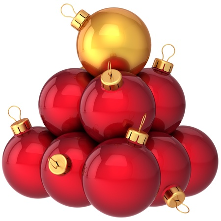 Red Christmas balls arranged as a pyramid with golden one on top. Modern shiny New Year decoration baubles. Xmas leadership concept photo