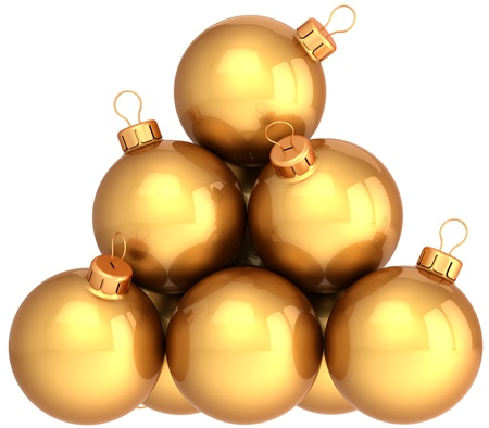 Golden Christmas balls arranged as a pyramid. Modern shiny New Year decoration baubles. This is a detailed 3d render photo