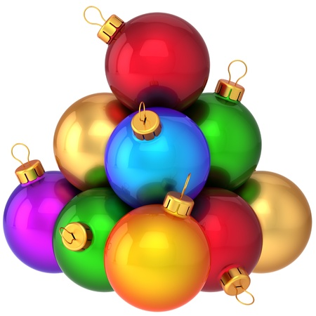 Super Christmas balls multicolored arranged as a pyramid. Beautiful modern shiny New Year decoration baubles. 3d render photo