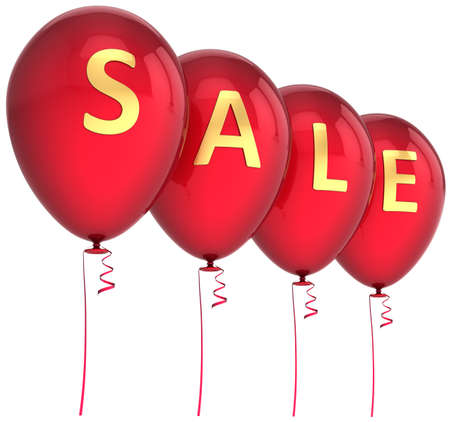 Sale balloons colored red decorated with golden word. Retail decoration. This is a detailed 3D render photo