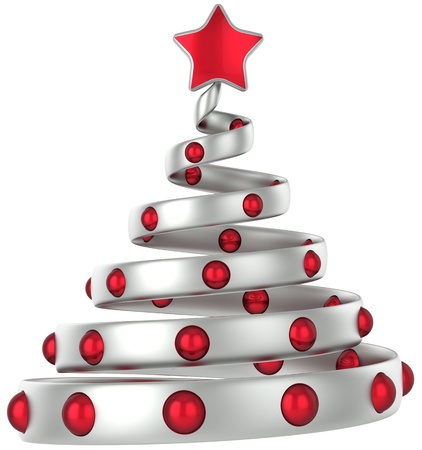 Silver Christmas tree decorated with red balls and shiny star. 3D rendering