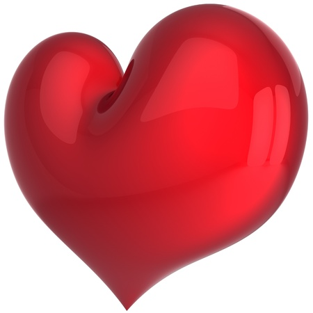 Heart shape total red and shiny. I Love you symbol. Valentine day shape. This is a detailed 3D render photo