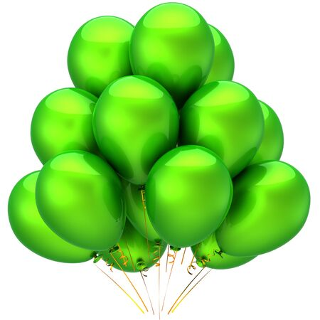 Green balloons shiny and beautiful. Party decoration concept. This is a detailed 3D render (Hi-Res). Isolated on white background Stock Photo - 8447052