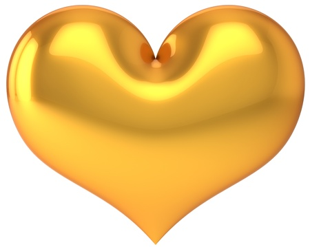 lustful: Golden Heart shape. Saint Valentines day symbol. Love day luxury decoration element. This is a detailed 3D render (Hi-res). Isolated on white background