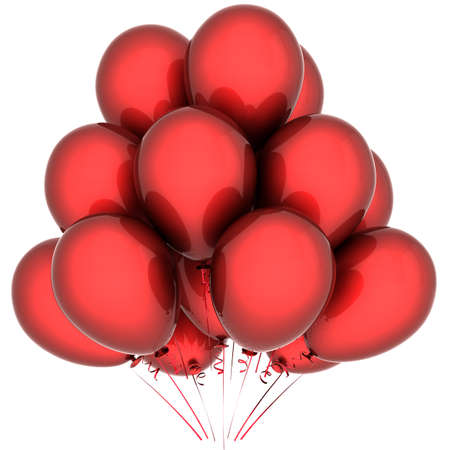 Red balloons. Celebration decoration. Holiday happiness emotions. This is a detailed 3D render (Hi-Res). Isolated on white background photo