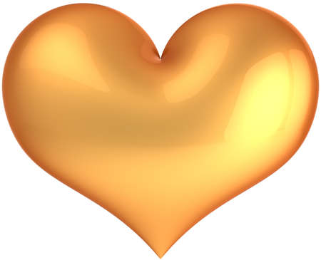 deluxe: Glamour Heart deluxe. Golden luxury Saint Valentines day symbol. I Love you concept. This is a detailed 3D render (Hi-res). Isolated on white background Stock Photo
