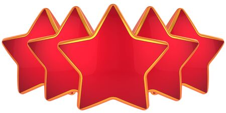 Red stars. Modern top level rating symbol. Best choice conception. High quality label design elements. This is a detailed 3D render photo
